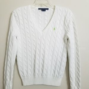 Ralph Lauren White Cable Knit V-Neck Sweater